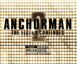 Graphic title screen for the feature film Anchorman 2 The Legend Continues