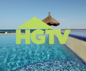 HGTV Network logo over a tropical pool setting