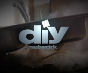 DIY Network logo over a still of a kitchen sink hitting a surface