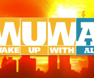 The Weather Channel show graphic for 'Wake Up With Al' over an image of a skyline and sunrise.