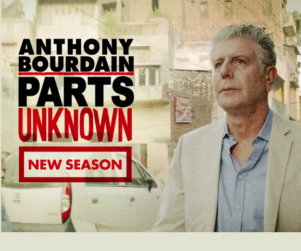 CNN host Anthony Bourdain outside in a a foreign street with Parts Unknown logo and text reading New Season