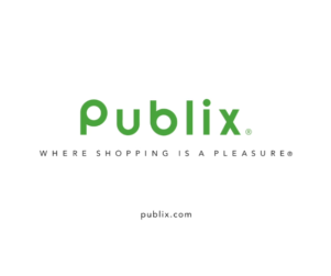 "Publix logo and motto ""Where Shopping is a Pleasure"" and website URL publix.com"